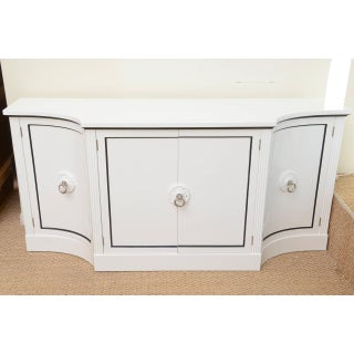 1940s Hollywood Regency Grosfeld House White Lacquered and Nickel Silver Cabinet Preview