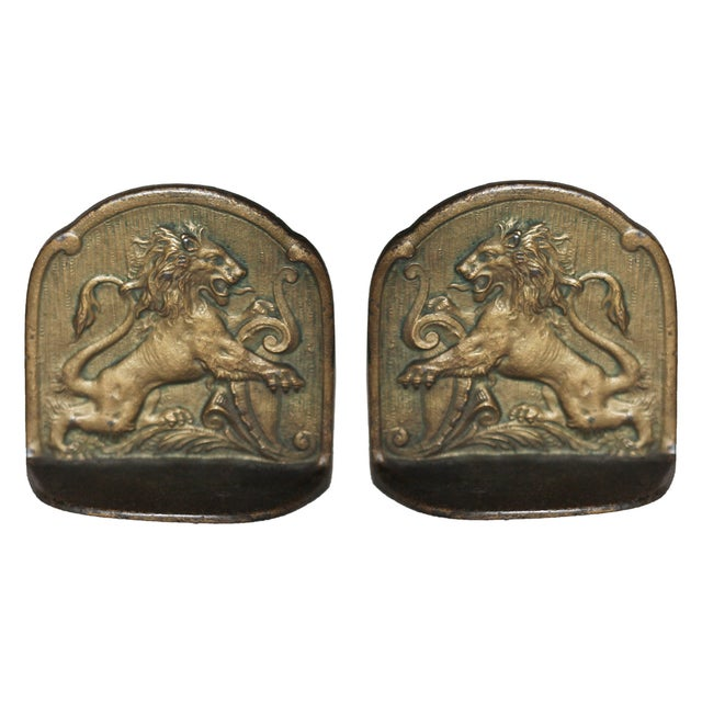 European Antique Brass Bookends - Image 3 of 6