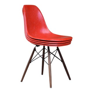 Set of 4 Original Herman Miller Red Molded Fiberglass Side Chairs / Charles Eames Shell Chairs For Sale