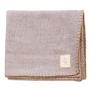 Stick & Ball Taupe Alpaca Throw Blanket With Gold Stitch For Sale