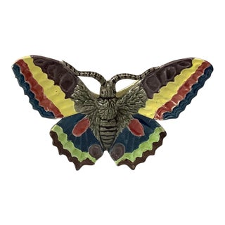 1880 French Majolica Butterfly Wall Pocket For Sale