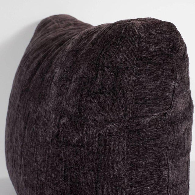 Contemporary Custom Handmade Gaufraged Velvet Rectangular Pillow in a Smoked Amethyst Hue For Sale - Image 3 of 6