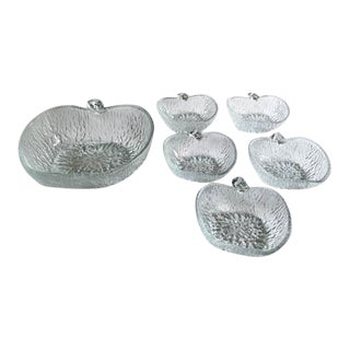 Glass Apple Shape Fruit Bowl and 5 Side Dishes - Set of 6 For Sale