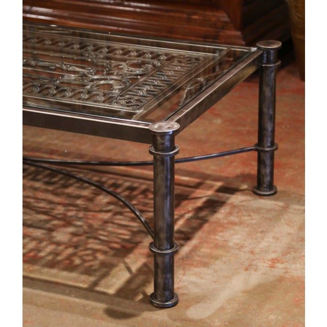 Iron Coffee Table Made With 19th Century French Gate Balcony With Glass Top For Sale - Image 4 of 13