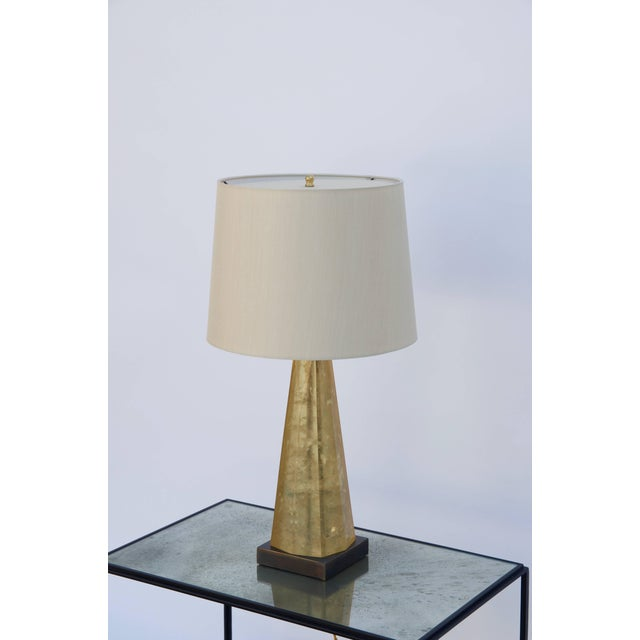 Fractal resin lamp in the style of Marie-Claude de Fouquières, circa 1975. Obelisk shaped fractal resin column over a...