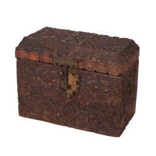 Circa 1800 Carved Indo-Persian Trunk For Sale