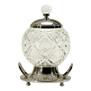 WMF Globe-Shaped Cut Crystal Punchbowl On Stand For Sale