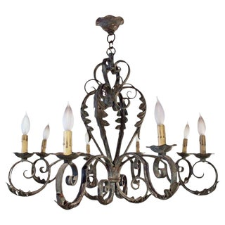 1920s Vintage French Eight-Light Wrought Iron Chandelier For Sale