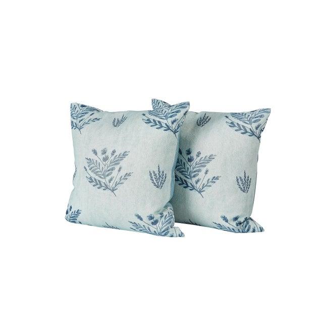 Transitional Ferrick Mason Custom Emily Blue Knife Edge Pillows - a Pair For Sale - Image 3 of 6