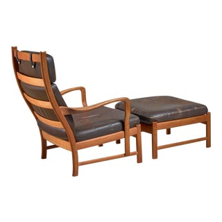 Scandinavian Oak and Brown Leather Lounger with Ottoman, 1950s For Sale