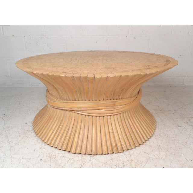 Vintage Modern McGuire Bamboo Wheat Sheaf Coffee Table For Sale - Image 11 of 11
