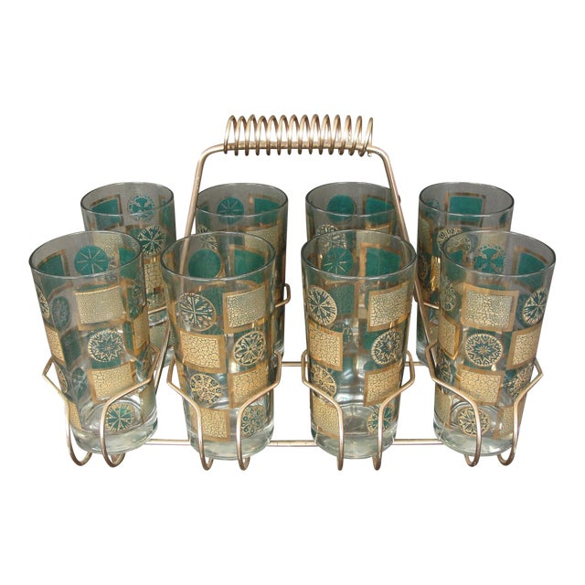 Mid-Century Tumblers With Rack - Set of 9 - Image 1 of 10