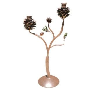 Vintage Bronze Pinecone Double Candleholder