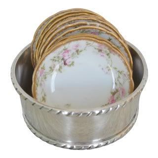 Antique Limoges Haviland Butter Size Dish & Silverplate Holder - Set of 13 For Sale