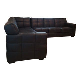 Italian Custom Designer Imported Embossed Chanel Style Box Stitch Black Leather Sectional For Sale