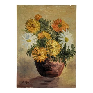 Vintage Oil Painting of Flowers Signed by Artist j.g. Maples