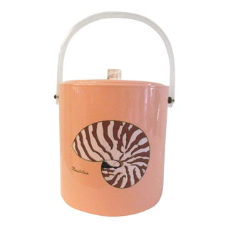Vintage Nautilus Shell Blush Pink Ice Bucket For Sale