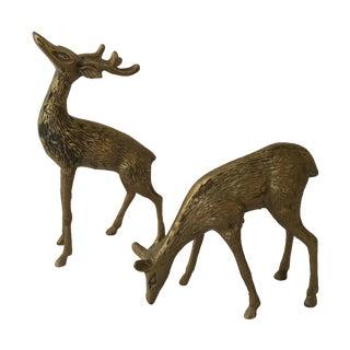 Vintage Brass Deer- A Pair For Sale