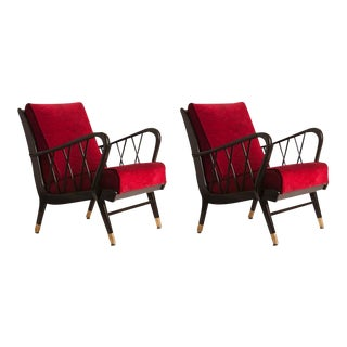 Pair of French Ebonized Oak Armchairs with Brass Detail