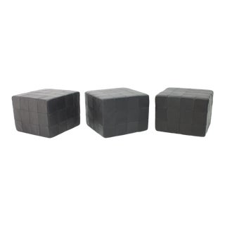 De Sede Footstools Cubes Leather Stool Ottoman Switzerland, 1970s For Sale