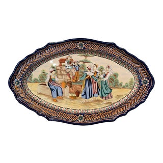 19th Century French Hand Painted Faience Oval Wall Platter Signed Hb Quimper For Sale