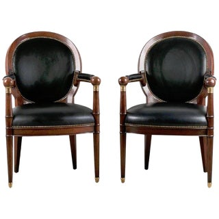 Neoclassic Mahogany Medallion Back Armchairs in Leather For Sale