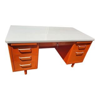 Vintage Steel Steel Case Retro Orange Tanker Desk For Sale