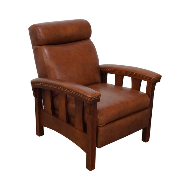 Mission Oak Leather Recliner Lounge Chair - Image 1 of 10