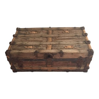 Early 1900's Rustic Metal & Wood Steam Trunk For Sale