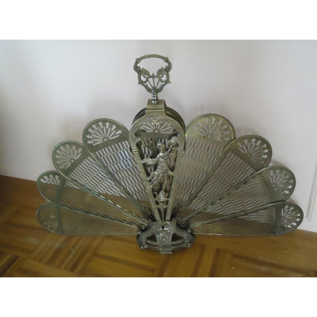 20th Century Art Deco Brass Peacock Fireplace Screen For Sale - Image 9 of 9