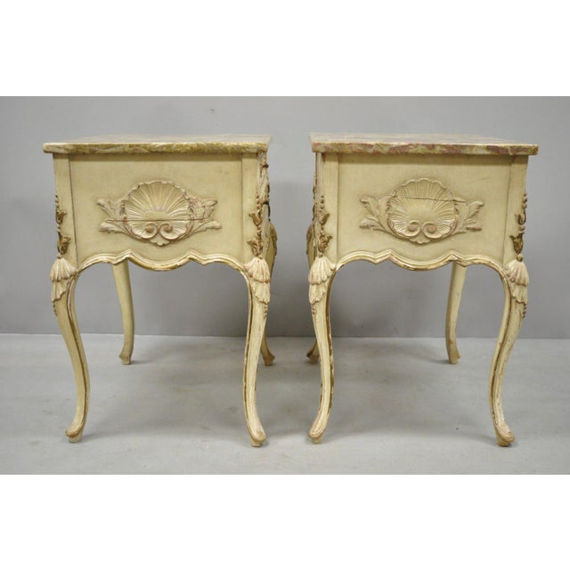 Marble 1950s French Louis XV Marble Top Nightstands - a Pair For Sale - Image 7 of 11