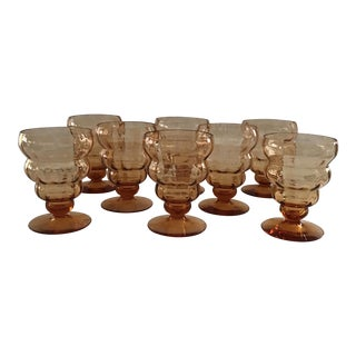 Vintage Amber Ribbed Glasses - Set of 8 For Sale
