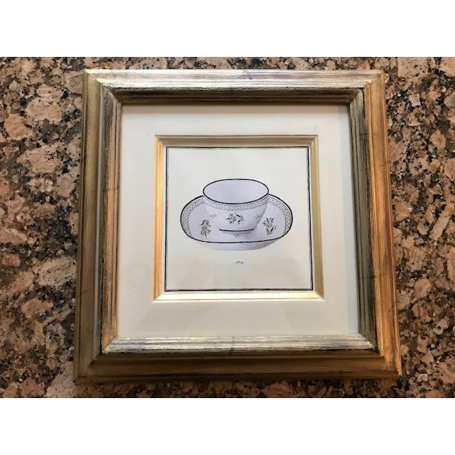 Gold Trowbridge Gallery Numbered Teacup Square Prints in Gilt Frames - Set of 4 For Sale - Image 8 of 13