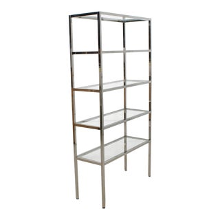 Chrome & Glass Etagere/Display Shelving/Bookcase