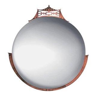 Round Vintage Carved Mahogany Pagoda Ormolu Crowned Heavy Mirror