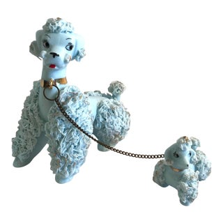 Vintage Mid-Century French Poodle Ceramic Figurines - A Pair For Sale