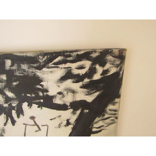 Abstract Abstract Signed Original Black and White Oil Painting For Sale - Image 3 of 7