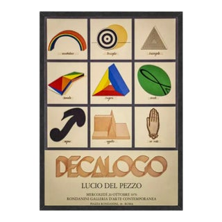 Vintage Custom Framed Geometric & Symbols by Lucio Del Pezzo 1976 Exhibition Poster For Sale