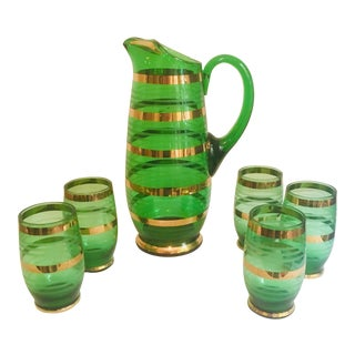 Vintage Mid-Century Modern Green Barware Pitcher and Glasses - Set of 6 For Sale