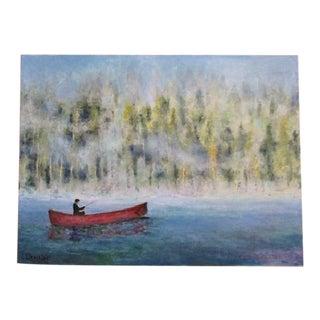 "Original Oil Painting Fine Art ""Fisherman in Red Canoe"" River Scene 18 X 24 Signed"