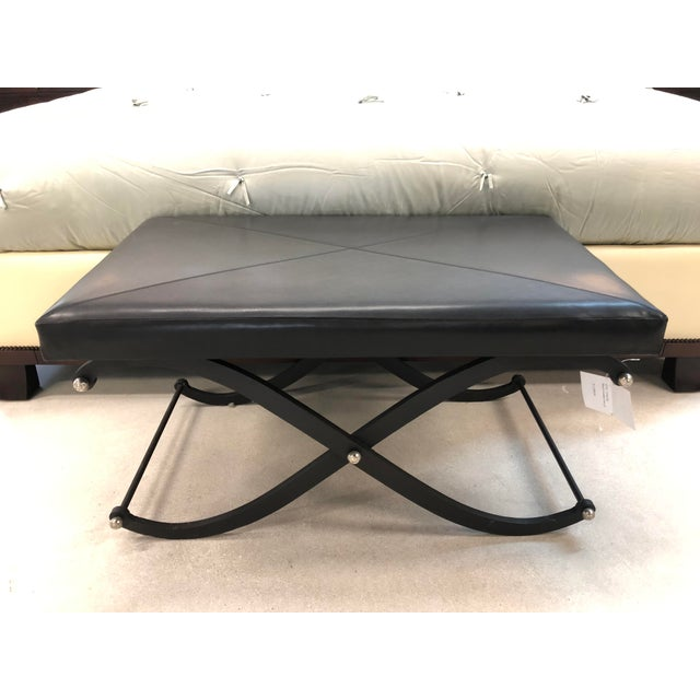 Modern Global Views Iron and Black Leather Ottoman For Sale - Image 12 of 12