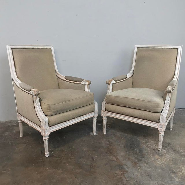 Pair 19th Century French Louis XVI Bergeres ~ Armchairs For Sale - Image 13 of 13