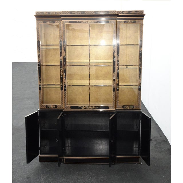 Vintage Drexel Oriental Asian Chippendale Chinoiserie Black China Cabinet Hutch For Sale In Los Angeles - Image 6 of 13