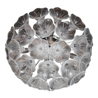 Mid-Century Flush Mount Chandelier in Chrome with Murano Glass Floral Shades For Sale