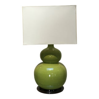 Christopher Spitzmiller Green Chartreuse Table Lamp With Rectangular Shade For Sale