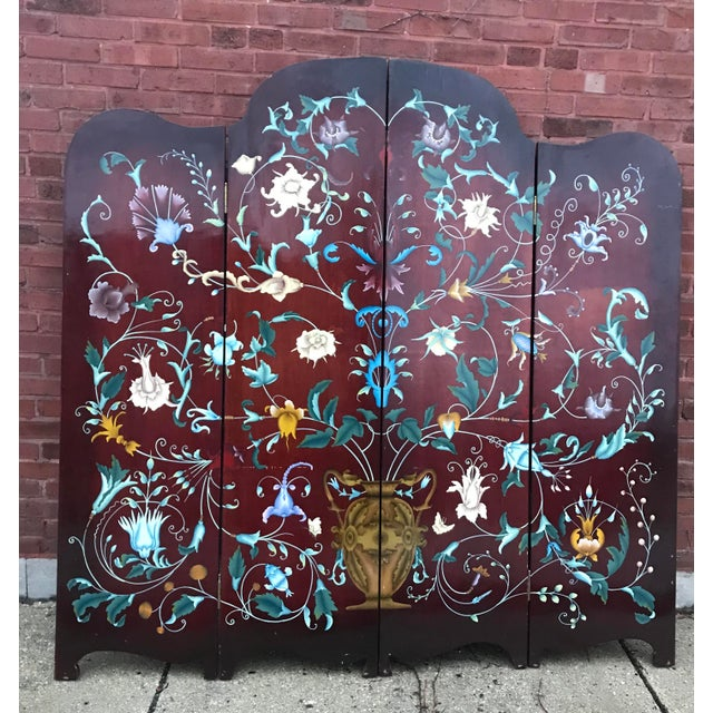 Art Nouveau 1940's Era Vintage Painted Folding Screen For Sale - Image 3 of 11