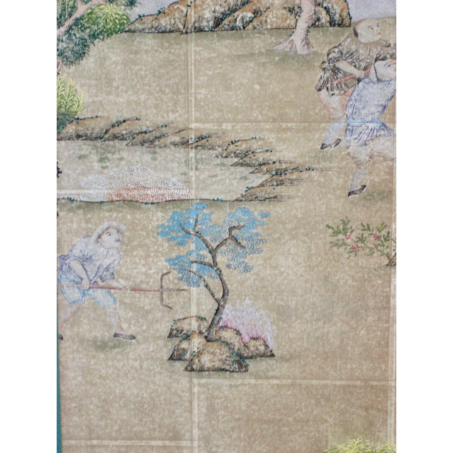 Chinese 19th Century Chinese Hand Painted Wallpaper Panel, Framed For Sale - Image 3 of 13