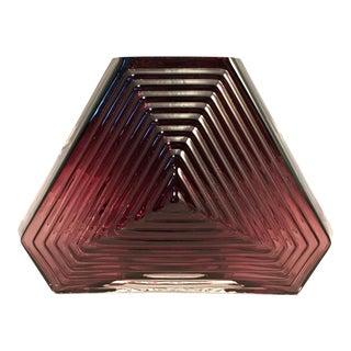 20th Century Art Deco Geometric Amethyst Glass Vase For Sale