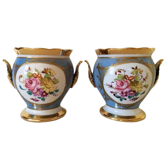 French Porcelain Cachepots - A Pair For Sale