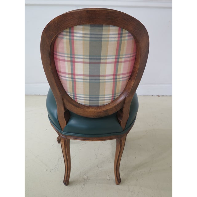 1990s Vintage Green Leather French Style Dining Room Chairs- Set of 6 For Sale - Image 9 of 11